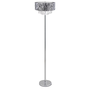 Elegant Designs Crystal Zebra Drum Shade Incandescent Floor Lamp, Chrome Finish