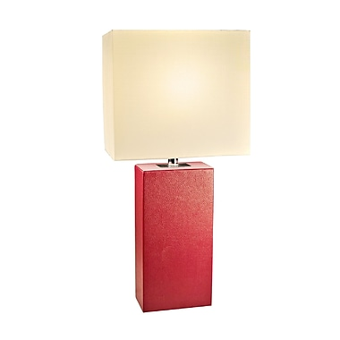 Elegant Designs Modern Leather Table Lamp, Red