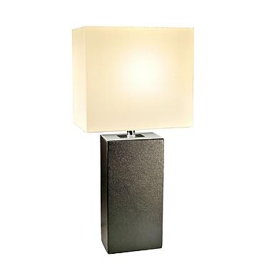 Elegant Designs Modern Leather Table Lamp, Black