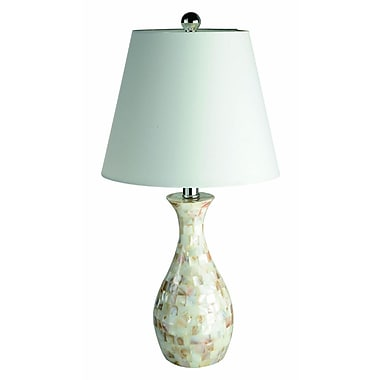 Elegant Designs Trendy Seashell Tiled Mosaic Look Curved Table Lamp, Chrome Finish
