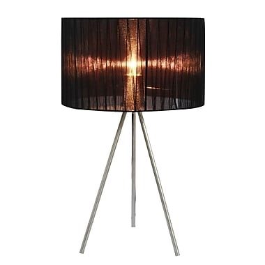 Simple Designs Black Sheer Silk Band Tripod Table Lamp, Brushed Nickel Finish