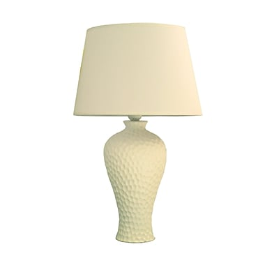 Simple Designs Texturized Curvy Ceramic Table Lamp, White Finish