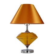Elegant Designs Amber Colored Glass Diamond Shaped Table Lamp, Chrome Finish