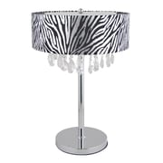Elegant Designs Trendy Crystal Table Lamp With Zebra Print Drum Shade, Chrome Finish