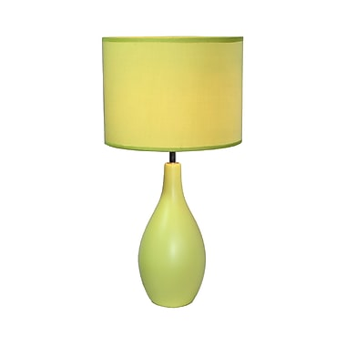 Simple Designs Oval Base Ceramic Table Lamp, Green Finish