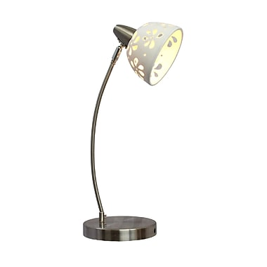 Simple Designs Porcelain Flower Incandescent Desk Lamp, White