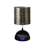 LighTunes™ Bluetooth Speaker Lamp With Alarm Clock/FM Radio/USB Charging Port, Leopard Shade
