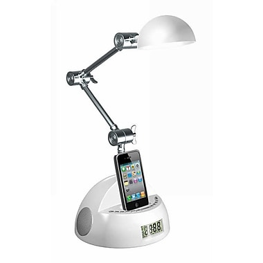 LighTunes™ Apple Docking Adjustable Robot Speaker Lamp With Alarm Clock/FM Radio, White