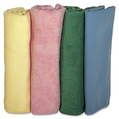 Genuine Joe® 16in. x 16in. Lint-Free Micro Fiber Cleaning Cloth, Assorted, 4/Pack