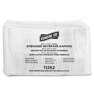 Genuine Joe® Quad Fold  2-Ply  9.5in. Square Beverage Napkins, White