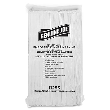Genuine Joe® 1-Ply  17in. x 15in. Embossed Dinner Napkins, White