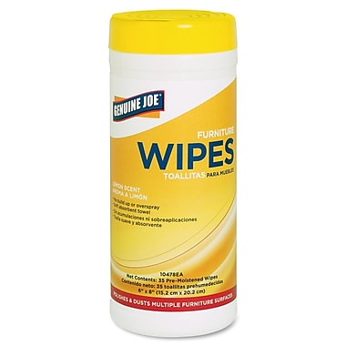 Genuine Joe® Lemon Scent Furniture Wipe Polish, 35/Pack