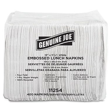 Genuine Joe® Quad Fold 2-Ply 13in. X 11 1/4in. Lunch Napkins, White