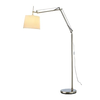 Adesso® Architect Arc Floor Lamp, Satin Steel