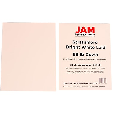 JAM Paper® 8 1/2in. x 11in. Strathmore Laid Cover Cardstock, Bright White, 250 Sheets/Ream