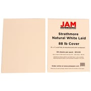 JAM Paper® 8 1/2 x 11 Strathmore Laid Cover Cardstock, Natural White, 50 Sheets/Pack