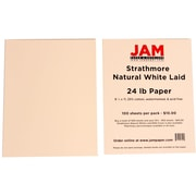JAM Paper® 8 1/2 x 11 Strathmore Laid Paper, Natural White, 100 Sheets/Pack