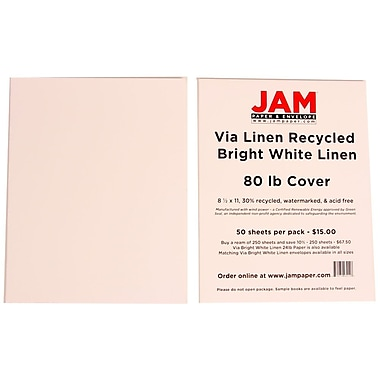 JAM Paper® 8 1/2in. x 11in. Strathmore Linen Cover Cardstock, Bright White, 50 Sheets/Pack