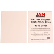 "JAM Paper® 80 lb. 8 1/2"" x 11"" Strathmore Linen Cover Cardstock, Bright White, 50 Sheets/Pack"