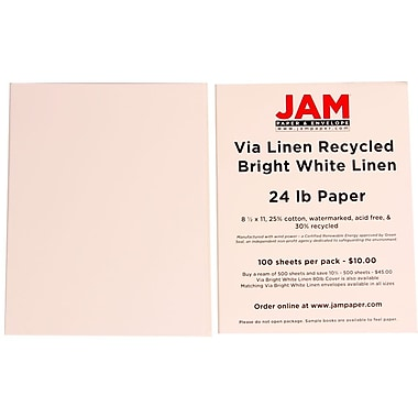 JAM Paper® 24 lb. 8 1/2in. x 11in. Strathmore Linen Paper, Bright White, 100 Sheets/Pack