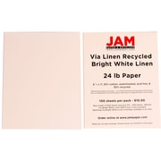 JAM Paper® 8 1/2 x 11 Strathmore Linen Paper, Bright White, 100 Sheets/Pack