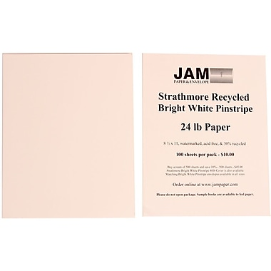 JAM Paper® 8 1/2in. x 11in. Strathmore Pinstripe Paper, Bright White, 500 Sheets/Ream