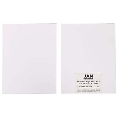 JAM Paper® 130 lb. 8 1/2in. x 11in. Strathmore Extra Heavy Stiff Cover Cardstock, Bright White, 125 Sheets/Ream