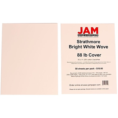Jam Paper® Strathmore Wove Cover Cardstock, 8-1/2