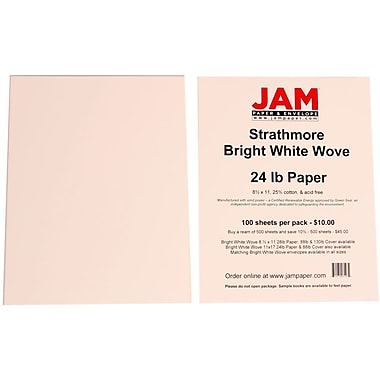 JAM Paper® 24lb 8 1/2in. x 11in. Strathmore Wove Paper, Bright White, 100 Sheets/Pack