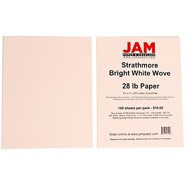 JAM Paper® 28 lbs. 8 1/2in. x 11in. Strathmore Wove Paper, Bright White, 100 Sheets/Pack