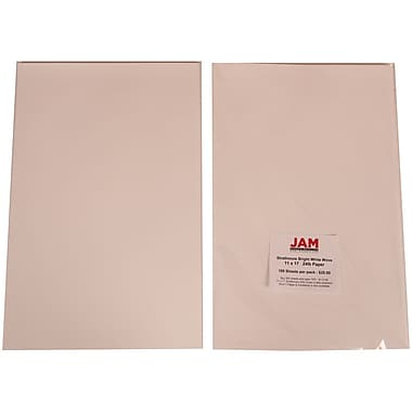JAM Paper® 11in. x 17in. Strathmore Wove Coverstock, Bright White, 250/Ream