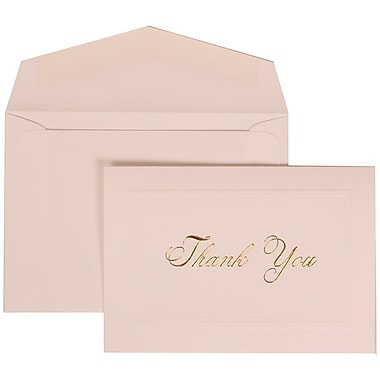 JAM Paper® 65 lbs. Gold Script Thank You Card Set, Bright White, 104 Cards & 100 Envelopes