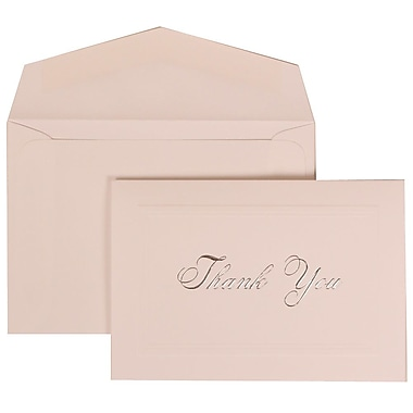 JAM Paper® Thank You Cards Set, Bright White with Silver Script, 104 Note Cards with 100 Envelopes (BW98001)