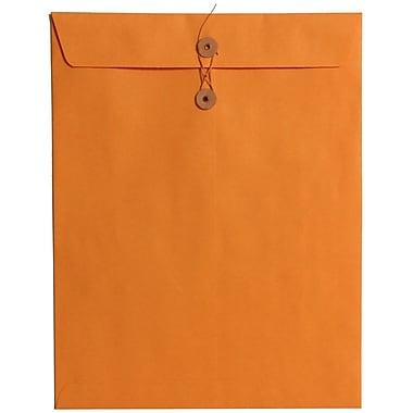 JAM Paper® 10in. x 13in. Open End Envelopes w/Button & String Closure, Manilla, 100/Pack
