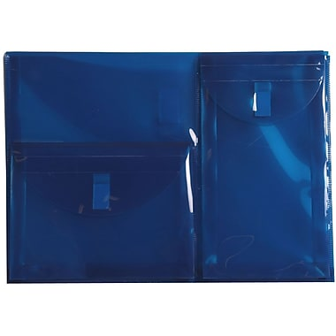 JAM Paper® Plastic 3 Pocket Envelopes, VELCRO® Brand Closure, Letter Booklet, 9.75 x 13, Blue Poly, Sold Individually (B35312B)