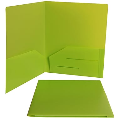 Jam® 9in. x 12in. Plastic Heavy Duty Two Pocket Presentation Folder, Lime Green