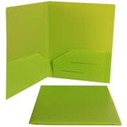 Jam® 9 x 12 Plastic Heavy Duty Two Pocket Presentation Folder, Lime Green