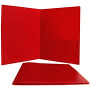 Jam® 9 x 12 Plastic Heavy Duty Two Pocket Presentation Folder, Red