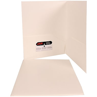 Jam® 9in. x 12in. Plastic Heavy Duty Two Pocket Presentation Folder, White