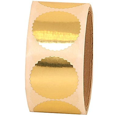 JAM Paper® 1 5/8in. Circle Label Wafer Seals w/Serrated Edges, Gold, 100/Pack