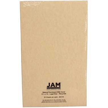 Jam® 8 1/2in. x 14in. Cover Cardstock, Natural Parchment, 250/Ream