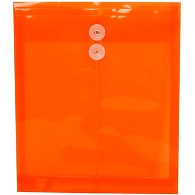 JAM PaperMD – Enveloppes avec fermeture à bouton en plastique et ficelle, 9 3/4 x 11 3/4 po, orange vif, paquet de 12