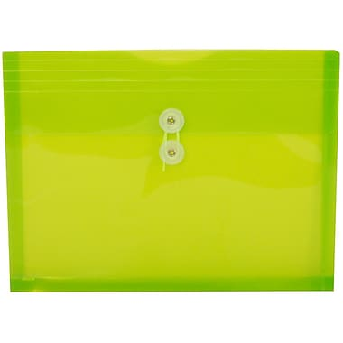 JAM Paper® Plastic Envelopes with Button and String Tie Closure, Letter Booklet, 9.75 x 13, Lime Green Poly, 12/pack (1221566)