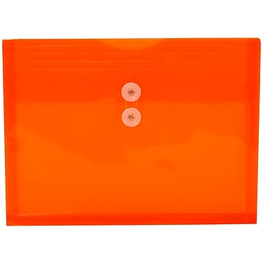 JAM Paper® Plastic Envelopes, Button and String Tie Closure, Letter Booklet, 9.75 x 13, Bright Orange Poly, 12/pack (1221565)