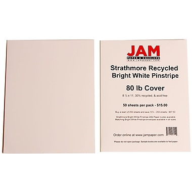 JAM Paper® 8 1/2in. x 11in. Strathmore Pinstripe Cover Cardstock, Bright White, 250 Sheets/Ream