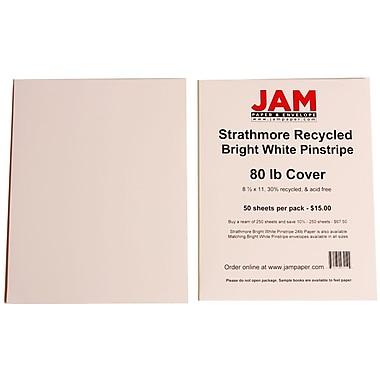 JAM Paper® 80 lb. 8 1/2in. x 11in. Strathmore Pinstripe Cover Cardstock, Bright White, 250 Sheets/Ream