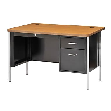 Sandusky® 48in. x 30in. Single Pedestal Steel Teachers Desk, Black/Medium Oak
