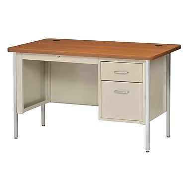 Sandusky® 48in. x 30in. Single Pedestal Steel Teachers Desk, Putty/Medium Oak