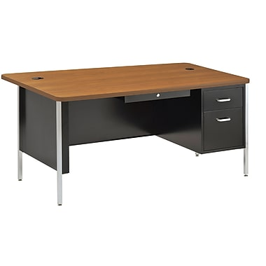 Sandusky® 60in. x 30in. Single Pedestal Steel Teachers Desk, Black/Medium Oak