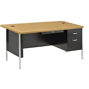 Sandusky® 60in. x 30in. Single Pedestal Steel Teachers Desk, Black/Maple